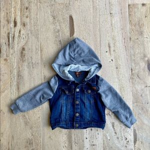 7 For The All Mankind Jean jacket with hoodie 18 M